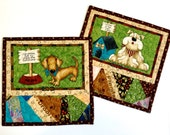 Dog Mug Rug Quilted -Handmade Homemade Patchwork Quilt  Man's Best Friend Mats  Set of 2  Bull Dog  Father's Day Gift Idea  Rescue Dogs