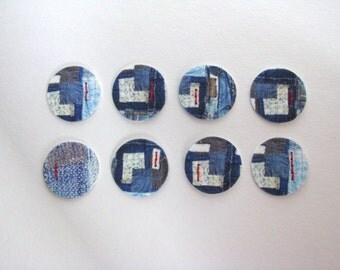 boro brooch with stitches, indigo japanese brooch, sashiko embroidery, red stitches brooch - round blue brooch - printed brooch with print