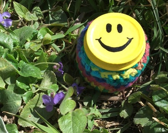 SALE! Little Smiley Face Recycled Glass Stash Jar, Hand Wrapped, Hand Painted, small, medicine, hippie, crochet, boho, rainbow OOAK