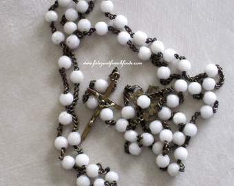 19th Century French Opaline Rosary Faceted Beads Brass Chain & Crucifix