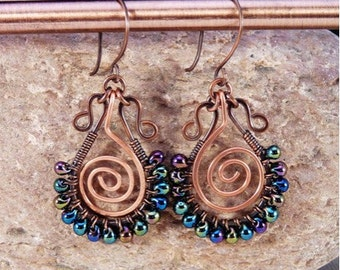 Copper Wire Wrapped Hoop Earrings.  Wire Wrapped Bohemian .  Spiral, Peacock  Colors.