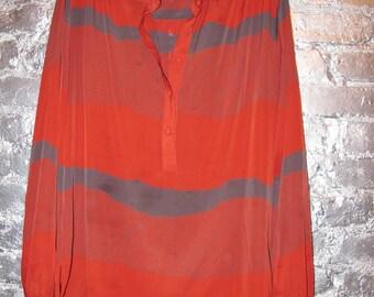Red Printed Semi Transparent Blouse
