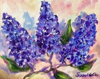 "Lilacs flowers original floral painting on canvas 8 x 10"""