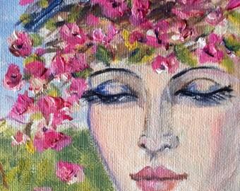 "Lady with bluebird painting original art 7 x 5"""