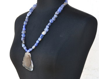 Blue Stone Necklace | Agate Slice Necklace | Chunky Stone Necklace |  Necklace | Blue Agate Necklace | Beaded Agate Necklace | Boho Jewelry