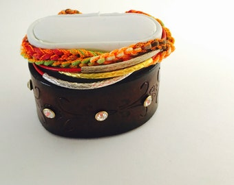 Boho/Gypsy Leather Bracelet, red string leather, summer fashion, turkish yarn, Hand Made in The USA, Item No. De141
