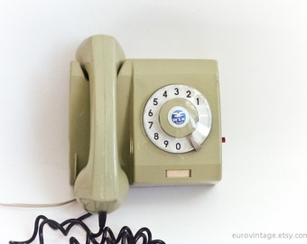 Vintage Wall Rotary Phone Green Phone Wall Telephone 70s