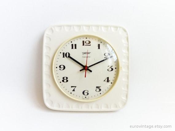 Vintage Ceramic Kitchen Wall Clock / White Ceramic Wall Clock