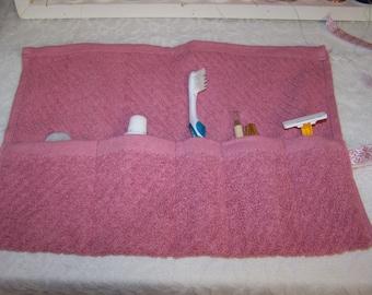 Travel Roll - Toothbrush Travel Roll - Toothbrush Organizer - Pink Rose Travel Roll - Toothbrush Pouch - FREE Shipping!!