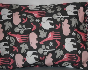 Zoo Animals Pillowcase     Travel/Toddlers  and Standard Size