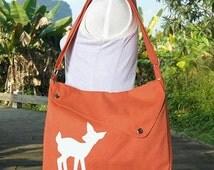 Summer Sale 10% off orange cotton canvas messenger bag / shoulder bag / deer messenger /diaper bag / fawn sewn