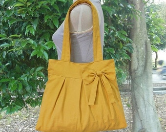 Summer Sale 10% off Golden cotton canvas tote bag / shoulder bag / hand bag / diaper bag / canvas purse- zipper closure