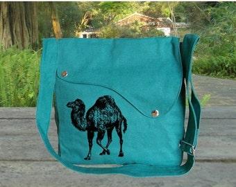 Summer Sale 10% off Personalized screenptinted turqoise green cotton canvas messenger bag, shoulder bag, crossbody bag, travel bag.