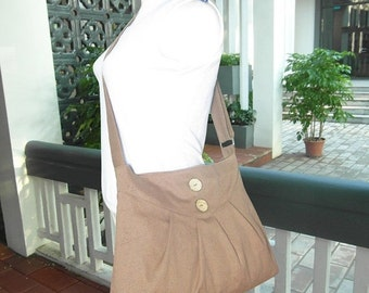 Holiday On Sale 10% off Pale brown purse / cross body bag / messenger bag / shoulder bag / diaper bag  - cotton canvas