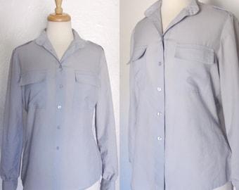 FREE SHIPPING//Vintage blue pocket short sleeve shirt