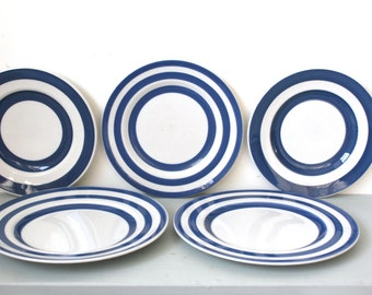 CLOSING DOWN SALE - 50% Off Instant Collection of Blue & White Striped Plates - Staffordshire and Swinnertons
