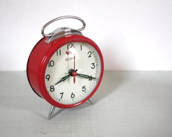 Vintage Red Mechanical Wind-Up Alarm Clock