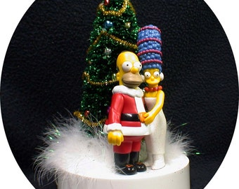 Homer & Marge Simpsons Wedding Cake Topper Christmas Tree with Working LIGHTS! Simpson winter