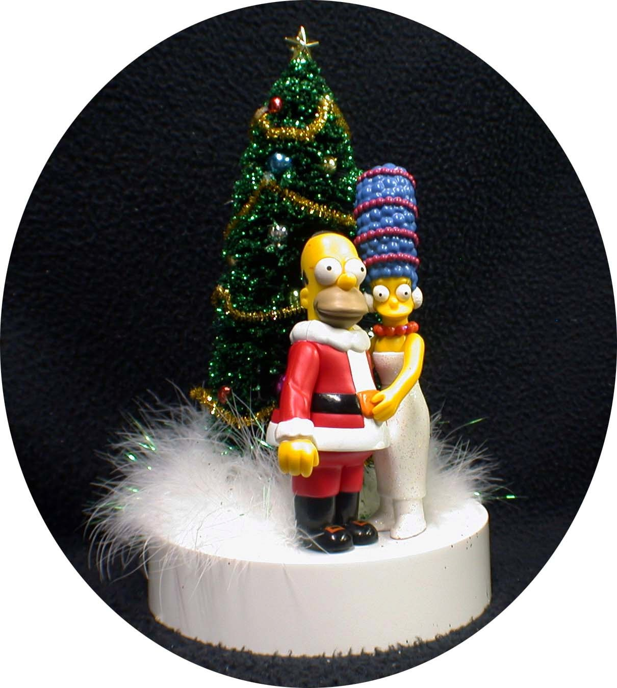 Homer & Marge Simpsons Wedding Cake Topper Christmas Tree with