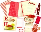 Red Scrapbook Embellishment Kit - Grab Bag Kit - Mixed Media, Collage, Scrapbooking, Project Life Supplies