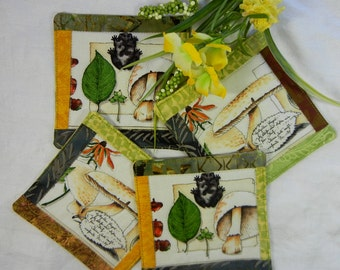 Quilted Cotton Fabric Coaster Mushrooms and Leaves