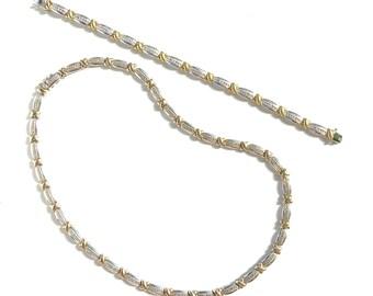 925 Sterling Silver Moissanite Tennis Necklace & Bracelet Set