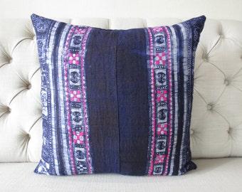 "ON SALE, Vintage 22""By22, Cushion covers Indigo batik Hmong Pillow case, Handwoven Hemp Fabric,"