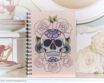 Sugar Skull on a Bed of Roses Tattoo Day of the Dead handmade A6 notebook