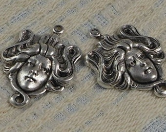 LuxeOrnaments Sterling Silver Plated Brass Filigree Art Nouveau Face Pendant (1 pc) 35x25mm F-A3405-1-S