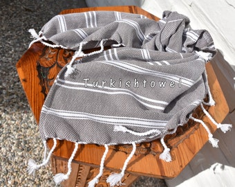 Turkishtowel-Set of 2-Soft-Hand woven,warp&weft cotton Hand,Tea,DishTowel-Twill pattern,White stripes on Taupe