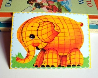 Small Ready to Frame Print * Elephant Zoo Wild Animal Plaid Cute Baby Toddler Kids Room Retro Vintage Style Home Decor