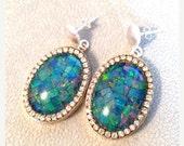 NewYear SALE Fiery mosaic opal sterling silver earrings