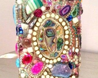 SUMMER SALE OOAK Bejeweled bling Vase gems mineral crystal galore