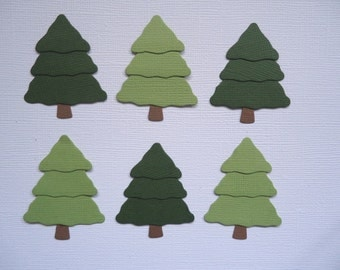 6 Christmas Tree Embellishments Scrapbooking Die Cuts Xmas Fir  Cards and Paper Crafts
