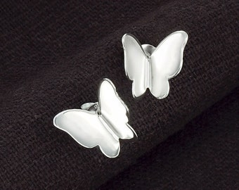 1 pair of 925 Sterling Silver Butterfly Stud  Earrings 11mm.  Polish finished :er0992