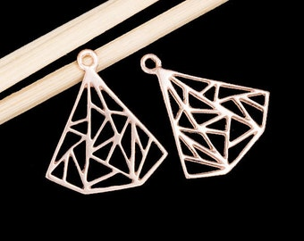 2 of 925 Sterling Silver Rose Gold Vermeil Style Diamond Shape 16x16.5 mm.  :pg0171