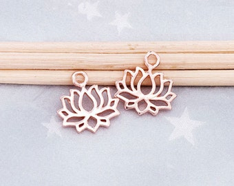2 of 925 Sterling Silver Rose Gold Vermeil Style Lotus Charms  8x11.5mm. :pg0209