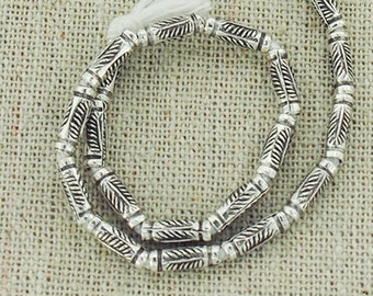 20 of Karen Hill Tribe Silver Leaf Imprint Tubular Beads 2.8x8mm.  :ka4178