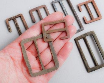 Set of 8 Antique primitive brass parts of belt buckles, findings, frame, connector