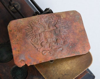 Antique plate,  Original Imperial Russian Army WW1 military uniform Belt Buckle. Eagle