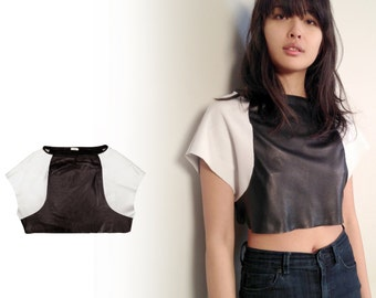 ATHLETIC style leather CROP TOP real perforated leather, leather Tshirt, black and white leather top