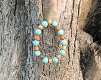 Olive Wood & Turquoise bracelet