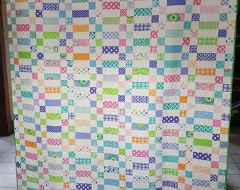 Handmade Quilt using the Moda Grow! fabric collection-Fun Bright Colors