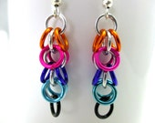 Chainmaille Earrings - Shaggy Loops Chainmaille Earrings - Shaggy Loops Earrings - Rainbow Chainmail Earrings - Chainmaille Jewelry