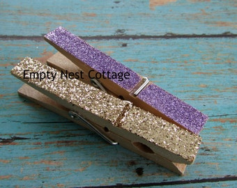 1 Dozen Gold and Purple Glittered Clothespins, Photo Clips, Wedding, Shower, Birthday, Twinkle Twinkle, Little Princess, Photo Clothespins