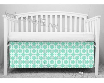 Crib Skirt, Bumperless Crib Bedding - Mint Square - CS1a