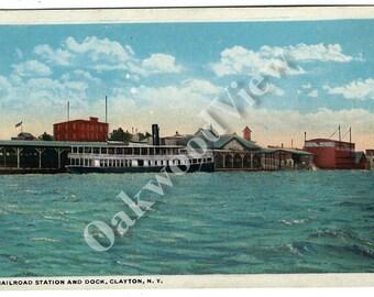 ON SALE Clayton NY Railroad Station & Dock Postcard c1915, Thousand Islands New York, Antique Transportation Train Ship Boat Ephemera, Free