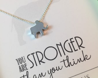 Elephant Friendship Necklace, Elephant Necklace, Elephant Jewelry, Strength Necklace, Gift Best Friend
