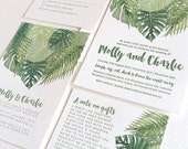 FOR MADDIE Tropical wedding invitation palm leaves, Letterpress