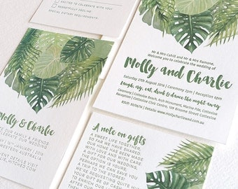 Tropical wedding invitation suite, palm leaves, Letterpress, SAMPLE ONLY, resort wedding, tropical leaves, foliage, destination wedding